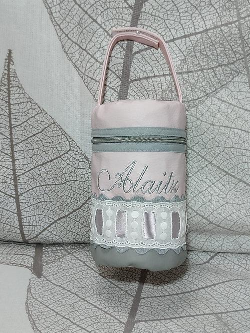 Portachupetes (chupetero) bebé personalizado-DUO GRIS-ROSA