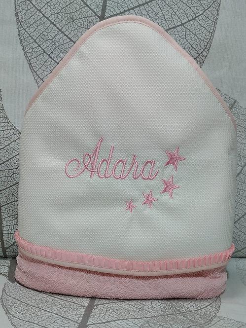 Capa-toalla de baño para bebé bordada y personalizada-MODELO ADARA