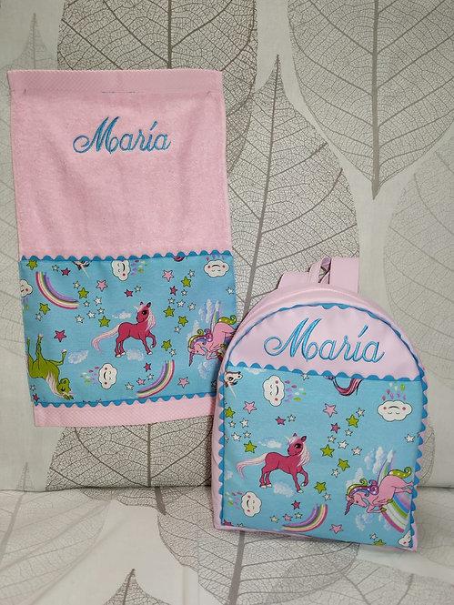 Set Mochila +  servilleta (toalla) -UNICORNIOS TURQUESA