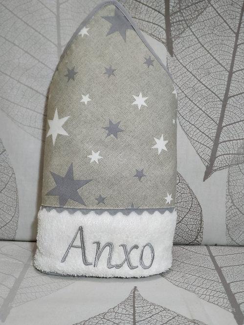 Toalla-capa infantil de baño bordada y personalizada- ESTRELLAS GRIS