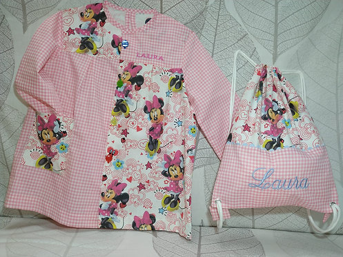 Set Bolsa-mochila merienda + Bata-babi-mandilón infantil- MINNIE ROSA