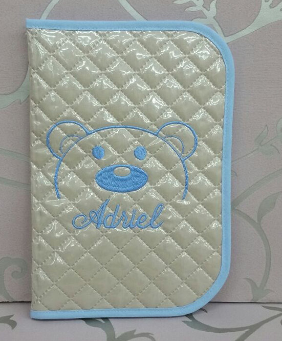 Portatoallitas y portapañales bebé personalizado  2 en 1- MODELO OSO BORDADO