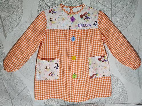 Bata-babi infantil niña personalizada para colegio -PRINCESAS DISNEY