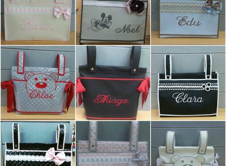 Artículos bebé personalizados Online: Bolsos personalizados para el carrito del bebé.