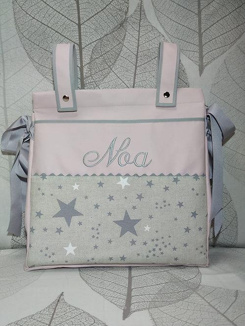 Bolso (Talega) para carro de bebé personalizado-MODELO ROSA + ESTRELAS