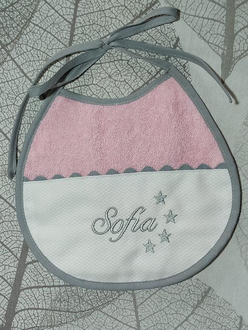 Babero para bebé bordado hecho a mano- ROSA Y GRIS