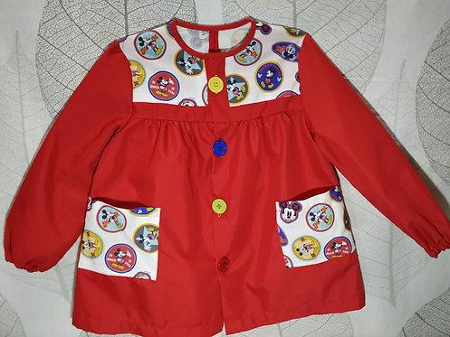 Bata escolar infantil (Babi) personalizada con nombre-MICKEY CÍRCULOS