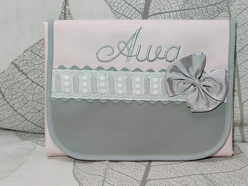 Cambiador bebé plegable personalizado- DUO GRIS-ROSA