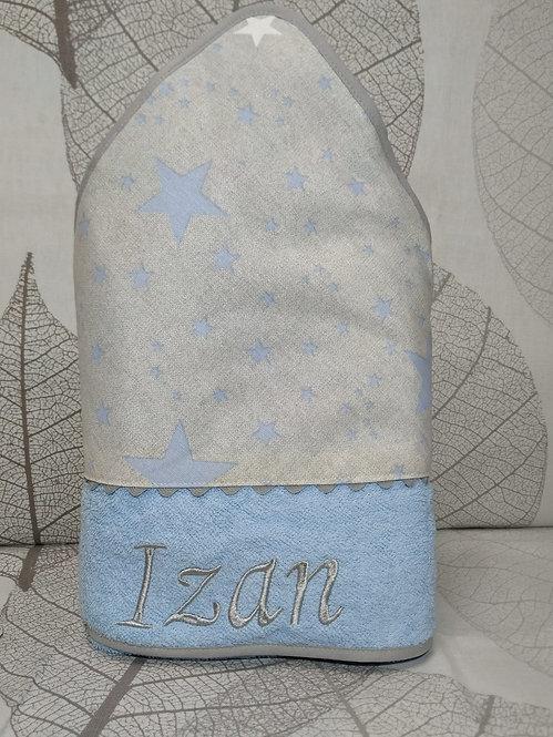 Capa para el baño del bebé (toalla-capa) personalizada - ESTRELLAS AZULES