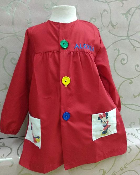 Babi (bata escolar) infantil niña personalizada con nombre-MINNIE ROJA