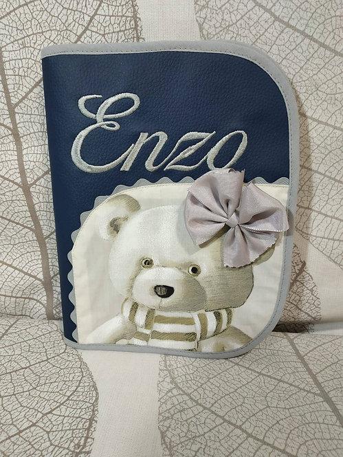 Portadocumentos bebé personalizado combinado con tela de osos- MODELO ENZO