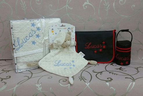 Cambiador bebé+ portachupetes +Manta bordada+ Dou-Dou bordado- MODELO LUCAS