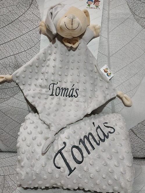 Manta topitos bebé bordada + Atrapa sueños Dou-Dou-GRIS-MARENGO