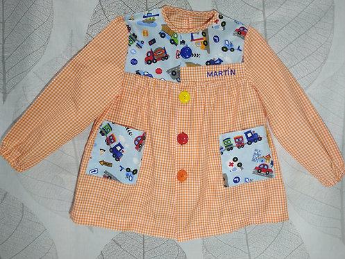Babi (bata escolar) infantil  personalizado con nombre- COCHES