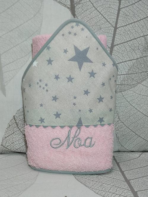 Capa de baño (toalla) para bebé bordada y personalizada-MODELO ROSA + ESTRELLAS