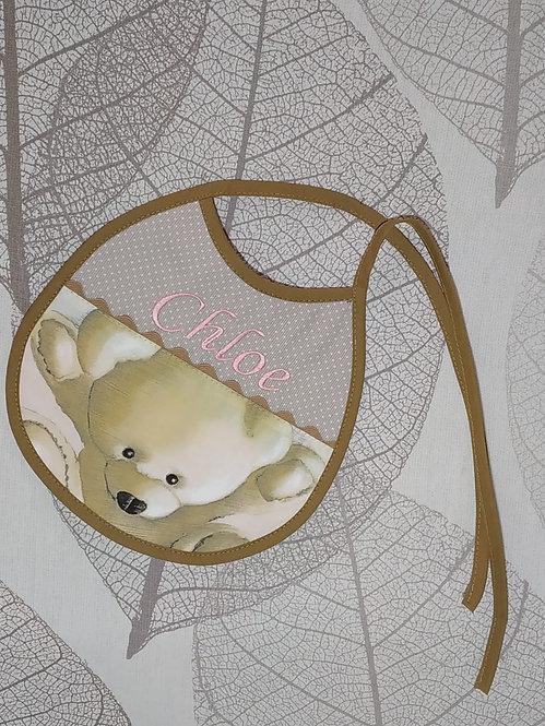 Babero para bebé bordado hecho a mano- MODELO OSOS CAMEL