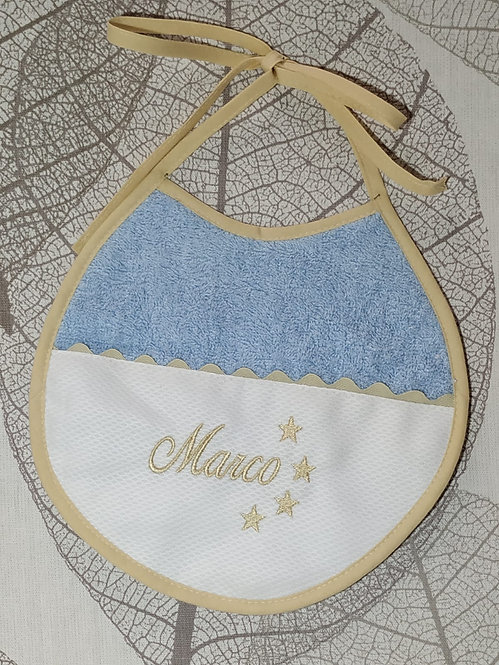 Babero para bebé bordado hecho a mano- AZUL Y BEIGE