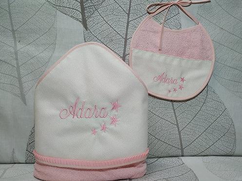 Capa-toalla de baño bebé + Babero bordado a juego-MODELO ADARA