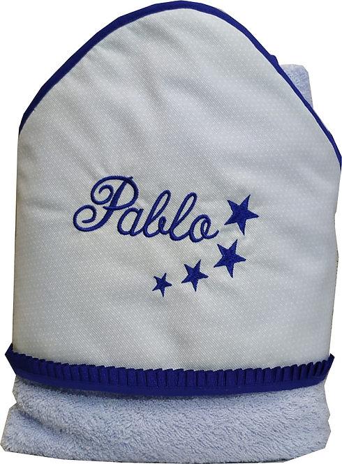 Capa-toalla de baño para bebé bordada y personalizada-MODELO PABLO