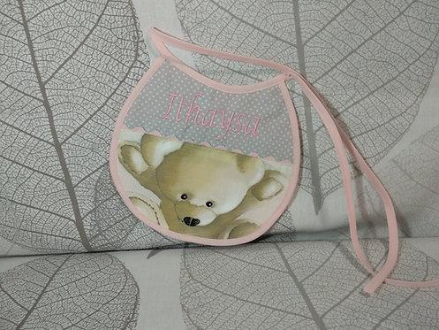 Babero para bebé bordado hecho a mano- MODELO OSOS ROSA