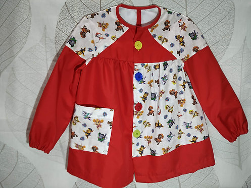 Bata escolar infantil (Babi) personalizada con nombre-PERSONAJES PATRULLA