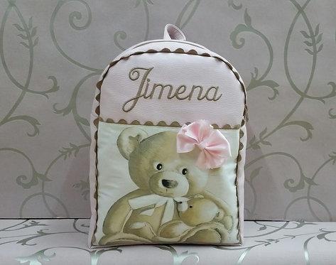 Mochila infantil personalizada polipiel combinada osos-MODELO JIMENA