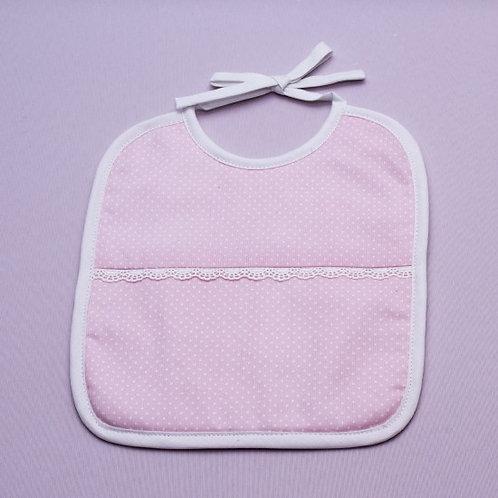 Babero para bebé rosa hecho a mano- DETALLES EN BLANCO
