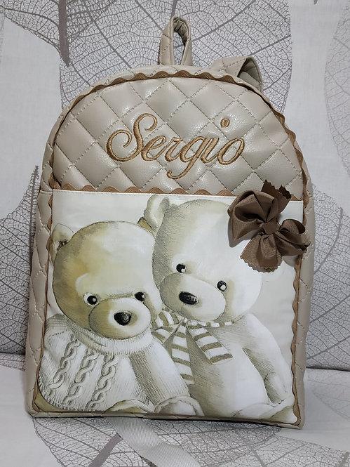 Mochila infantil bordada y personalizada ositos-MODELO SERGIO
