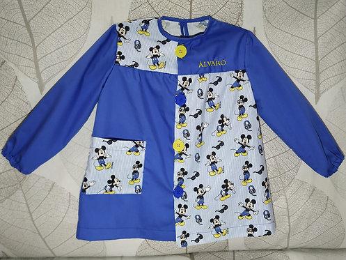 Bata escolar infantil (Babi) personalizada con nombre-MICKEY RAYAS