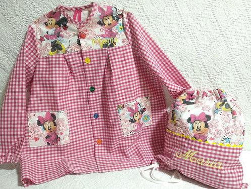 Set Mochila escolar Minnie + Bata-babi-mandilón infantil-MINNIE MOUSE