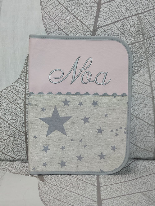 Portadocumentos personalizado bebé- MODELO ROSA + ESTRELLAS
