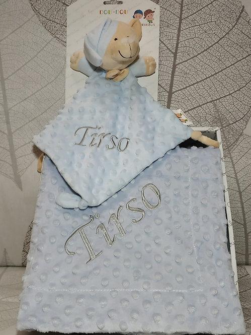 Manta topitos bebé bordada + Atrapa sueños Dou-Dou- AZUL-GRIS