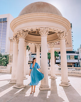 caesars palace las vegas woman blue dress