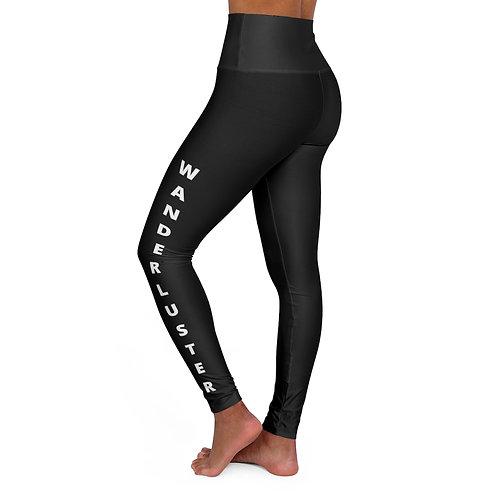 High Waisted Yoga Leggings - Wanderluster - Black