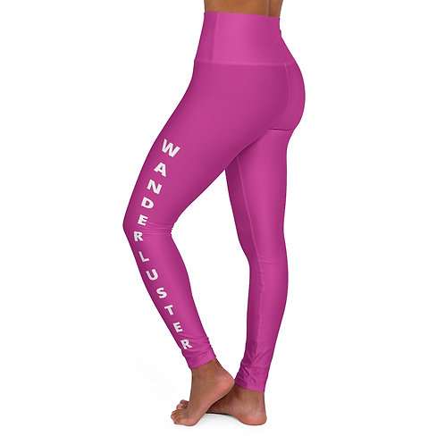 High Waisted Yoga Leggings - Wanderluster - Pink