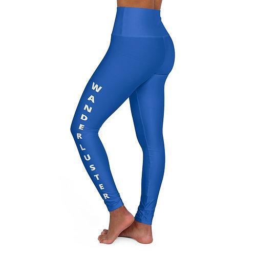 High Waisted Yoga Leggings - Wanderluster - Blue