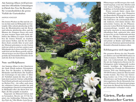 Unser Garten in der NZZ