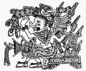 La Dea Mayáhuel che allatta un pesce, Codex Borgia, folio 16v