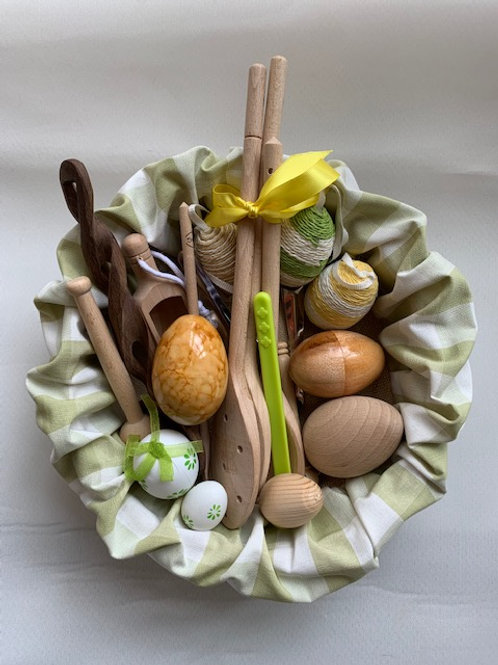 A collection of different eggs and spoons, perfect to celebrate Spring or Easter with children in their early years