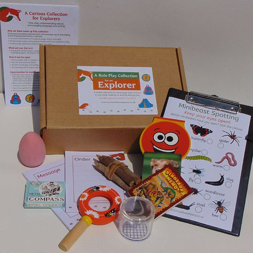 Explorer role play box designed to encourage early writing skills in young children