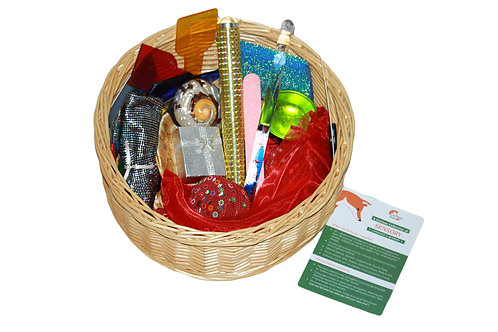 Traditional treasure basket exploring the idea of light and sparkle, includes an educational leaflet.