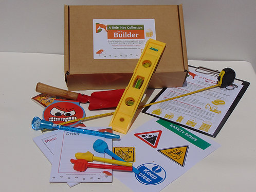 Builder role play box designed to encourage early writing skills in the early years