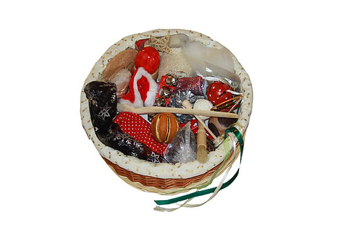 Traditional treasure basket exploring the scents, sounds and textures of Christmas