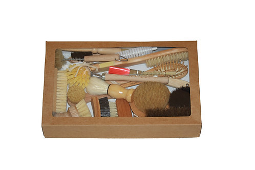 Box of assorted brushes as an early years resource for young children.