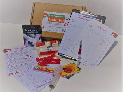 Doctor role play box for young children, designed to encourage early writing