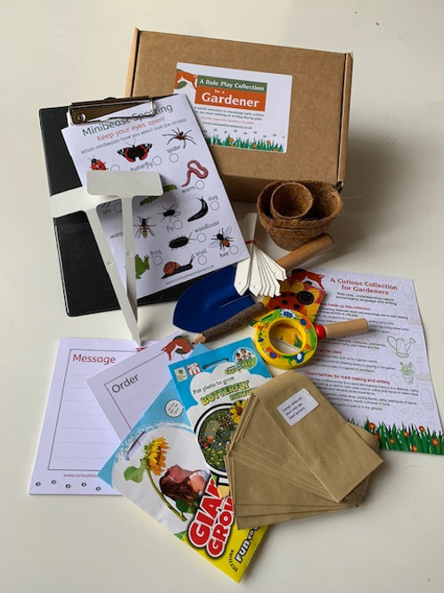 Gardening role play box designed to encourage young children to develop early writing skills