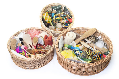 A collection of  different treasure baskets as examples of bespoke collections we can create