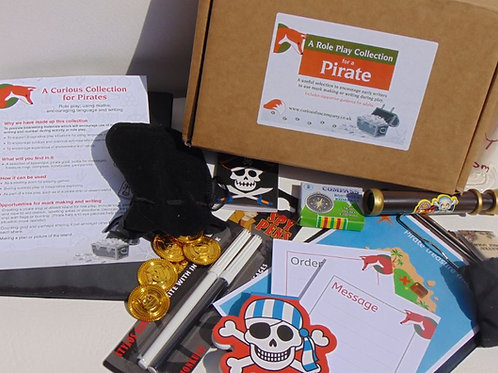 Pirate role play box designed to encourage early writing in young children.