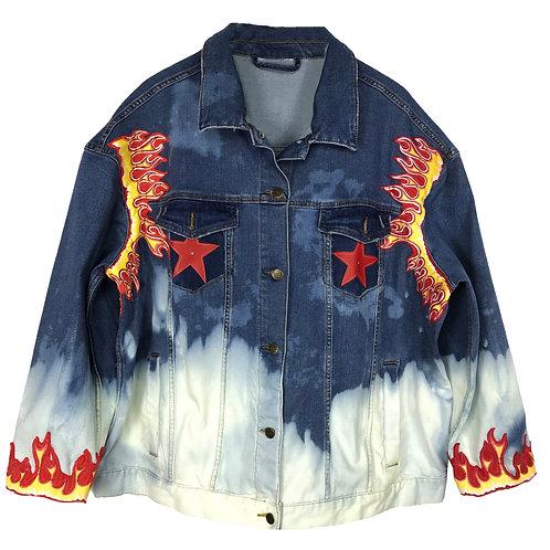 Oversized Denim Flame Jacket