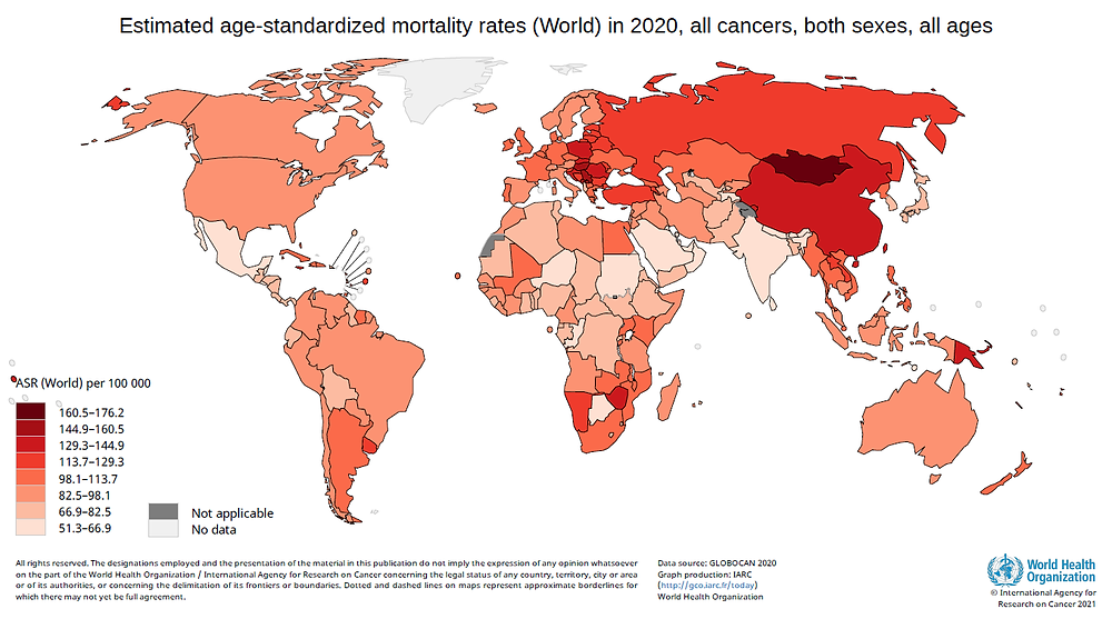 estimated age-standardized mortality rate in 2020 around the world about cancer.